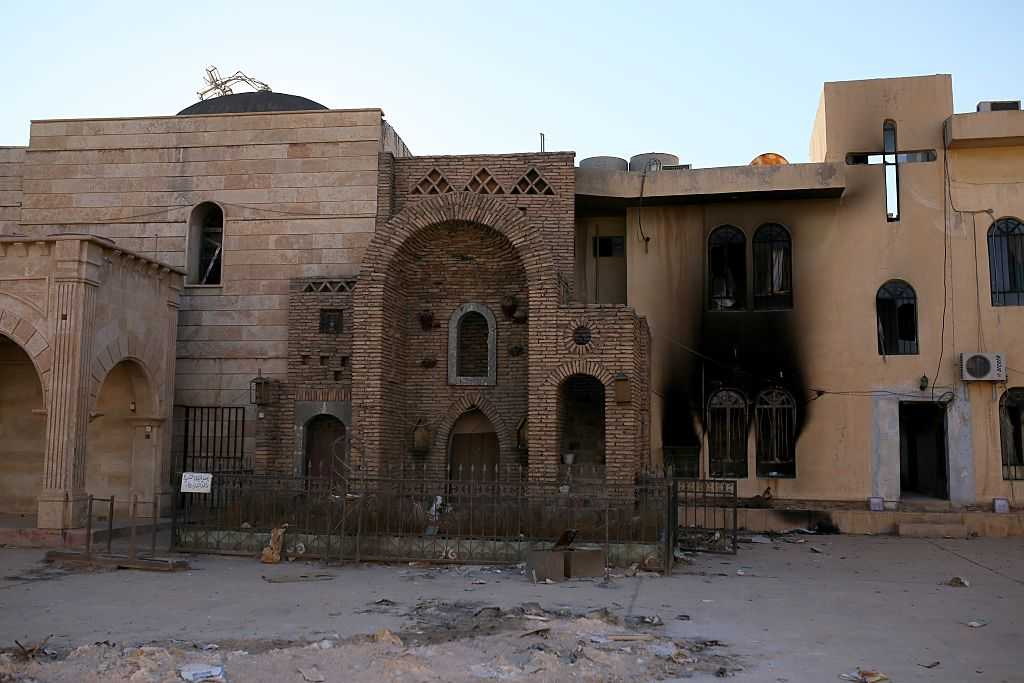 Al-Tahira Church in Mosul, Iraq, which was damaged by Islamic State terrorists. (Photo by Yunus Keles/Anadolu Agency/Getty Images)
