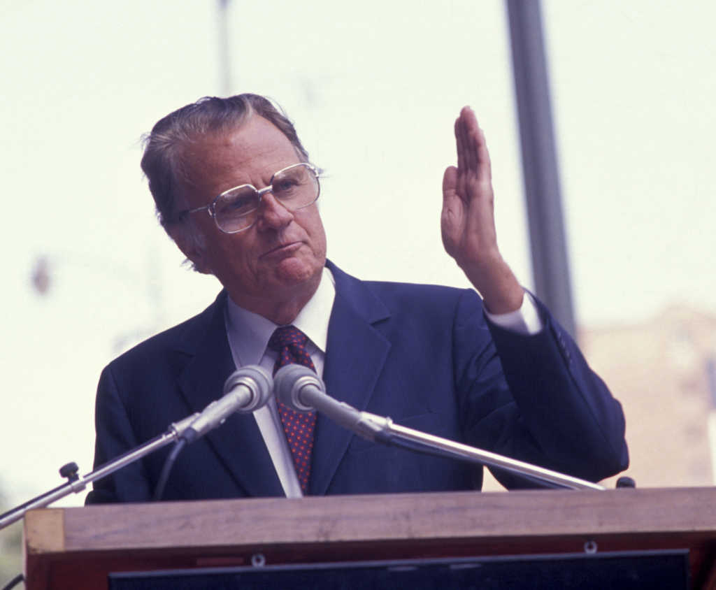 Reverend Billy Graham attends Billy Graham Hollywood Walk Of Fame Ceremony on October 15, 1989 in Hollywood, California. (Photo by Ron Galella, Ltd./WireImage)