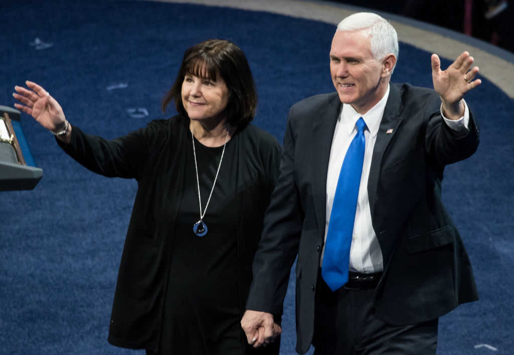 Vice President Mike Pence and his wife Karen Pence (Photo by Noam Galai/Getty Images)