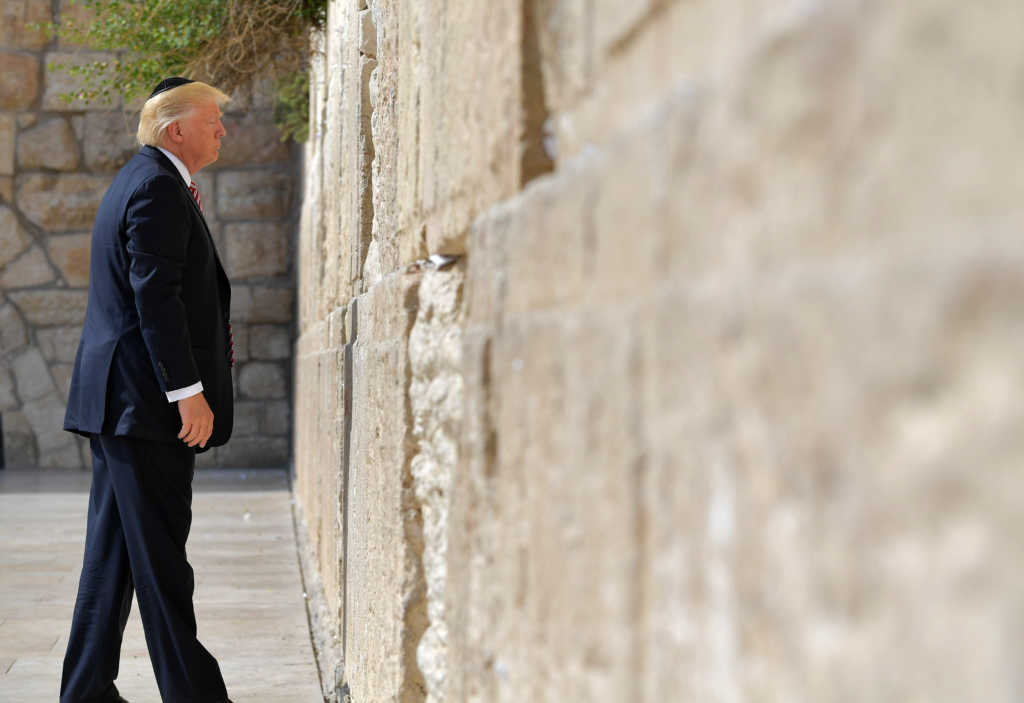 US President Donald Trump visits the Western Wall, the holiest site where Jews can pray, in Jerusalems Old City on May 22, 2017. / AFP PHOTO / MANDEL NGAN (Photo credit should read MANDEL NGAN/AFP/Getty Images)