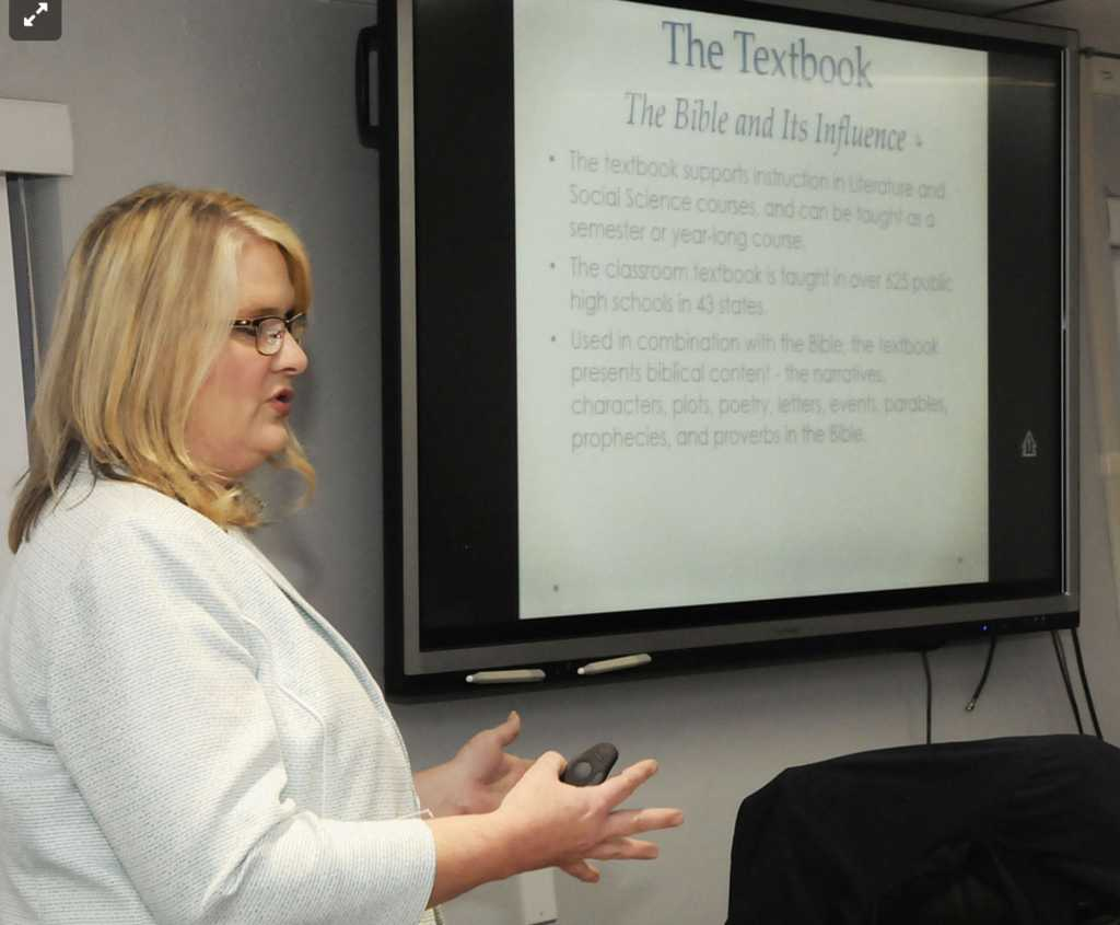 Amanda Aliff, the school system's coordinator of pupil services, presented a high school Bible studies class plan to The Mercer County Board of Education on Tuesday night. Photo Credit: Bluefield Daily Telegraph/Amanda Aliff