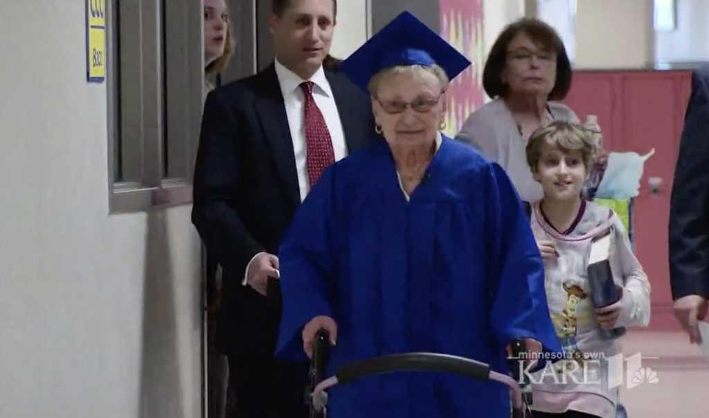 Holocaust survivor Esther Begam finally gets her high school diploma (Image source: KARE-TV)