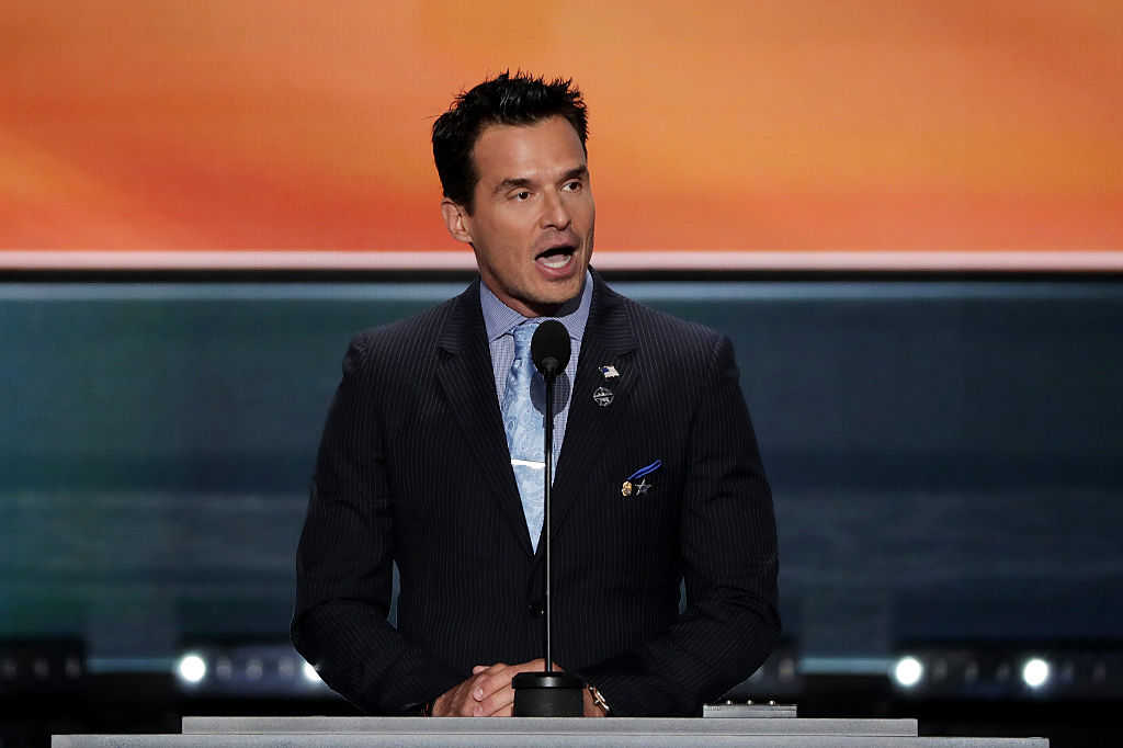 Antonio Sabato Jr. delivers a speech on the first day of the Republican National Convention on July 18, 2016 at the Quicken Loans Arena in Cleveland, Ohio. (Alex Wong/Getty Images)
