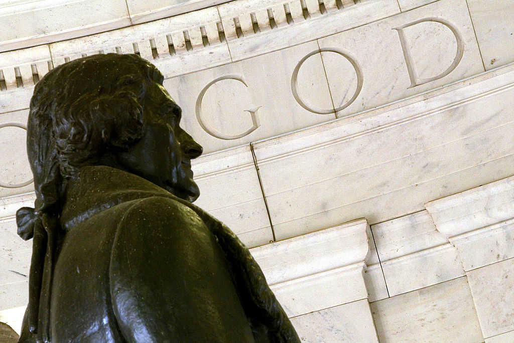 """The word """"God"""" is seen on the wall of the Thomas Jefferson Memorial in Washington, DC. (Alex Wong/Getty Images)"""