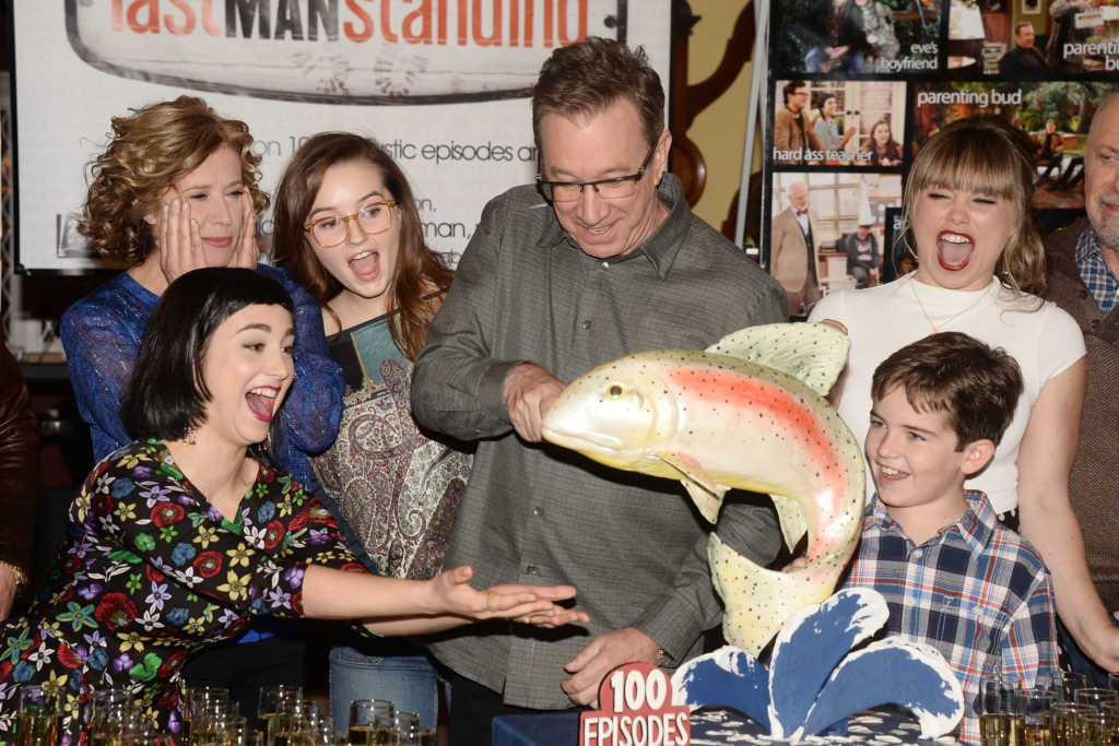 """STUDIO CITY, CA - JANUARY 12: Actor Tim Allen(C) and the cast of 'Last Man Standing' attend the 100th episode celebration of ABC's """"Last Man Standing"""" at CBS Studios - Radford on January 12, 2016 in Studio City, California. (Photo by Matt Winkelmeyer/Getty Images)"""