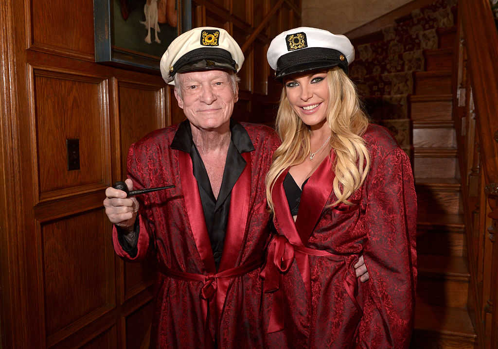 Hugh Hefner and Crystal Hefner attend Playboy Mansion's Annual Halloween Bash at The Playboy Mansion on October 25, 2014 in Los Angeles, California. (Charley Gallay/Getty Images for Playboy)