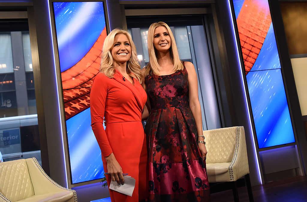 "Ainsley Earhardt and Ivanka Trump speak during ""FOX & Friends"" at FOX Studios on September 14, 2016 in New York City. (Ilya S. Savenok/Getty Images)"