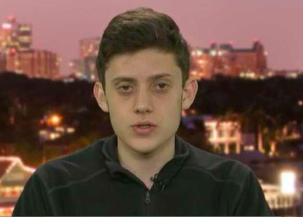 Marjory Stoneman Douglas High School junior Kyle Kashuv is designing an app to help students with emotional support. (Image source: Screenshot via Fox News)