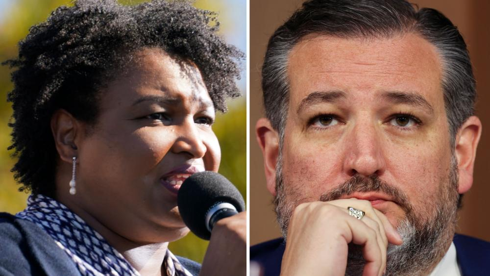 In this Nov. 2, 2020, file photo Stacey Abrams, left, speaks to Biden supporters. Sen. Ted Cruz (R-Texas), listens to testimony during Tuesday's hearing. (AP Photos)